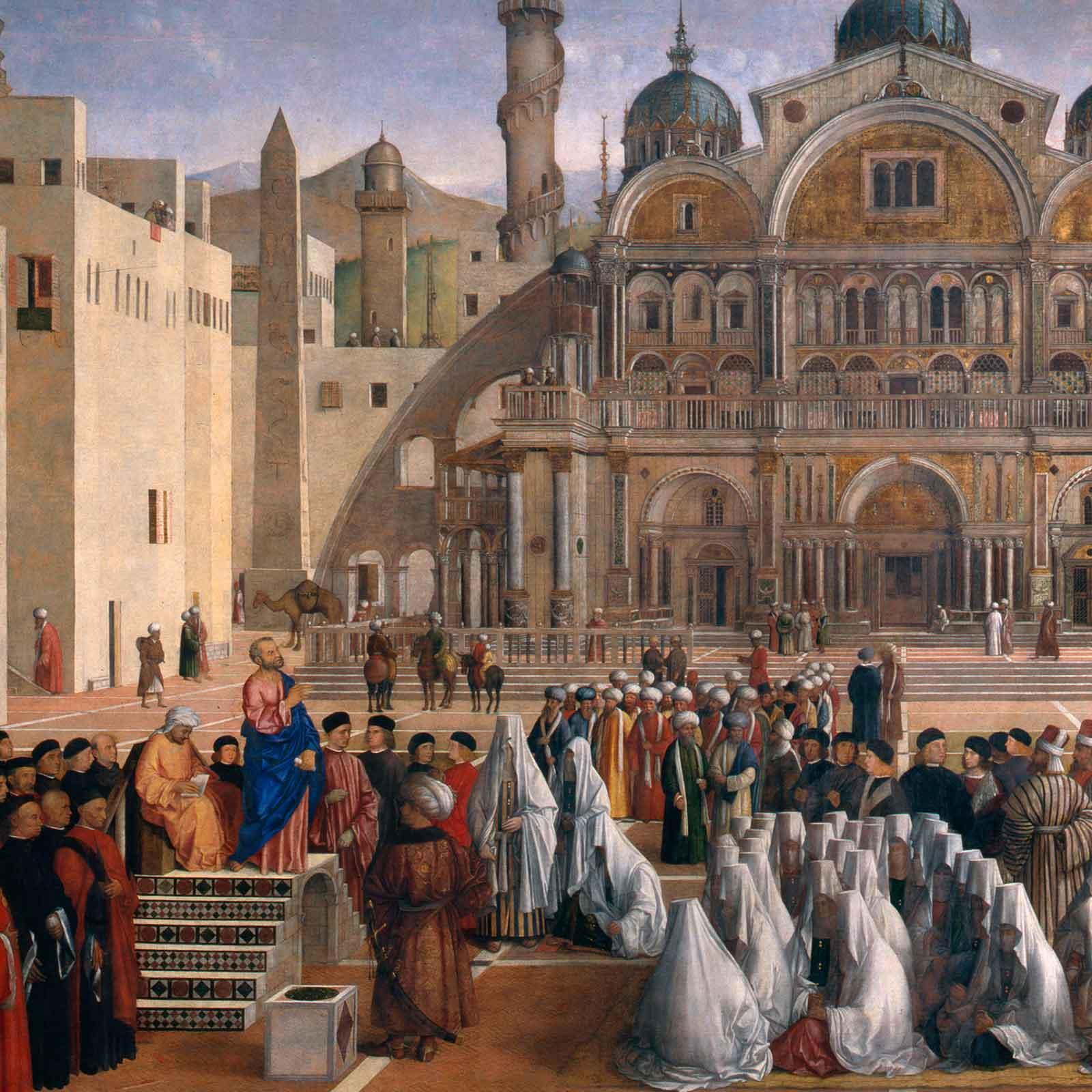 """Capolavori di Brera: """"La Predica di San Marco in Alessandria"""" di Gentile e Giovanni Bellini"""